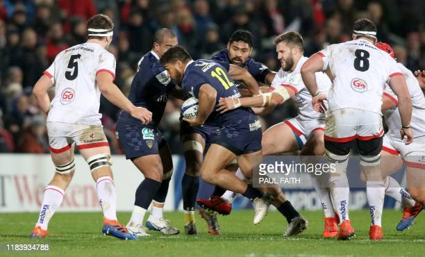 Clermont's New Zealand centre George Moala vies with Ulster's Irish lock Iain Henderson during the European Rugby Champions Cup rugby union pool...