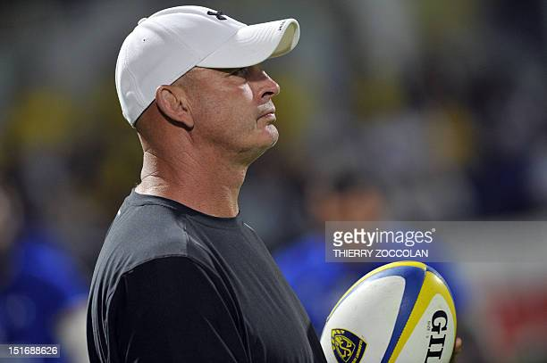 Clermont's NewZealand coach Vern Cotter looks on during the French Top 14 rugby Union match ASM Clermont Auvergne vs Racing Paris 92 on September 9...
