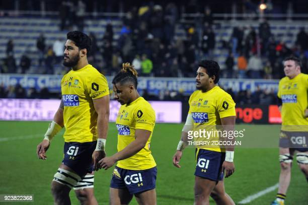 Clermont's players react after losing the French Top 14 rugby union match between Clermont and Oyonnax at the Michelin Stadium in ClermontFerrand...