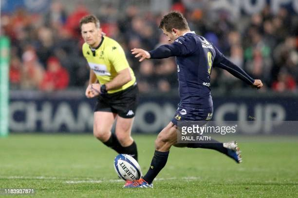 Clermont's Scottish scrumhalf Greg Laidlaw converts a penalty during the European Rugby Champions Cup rugby union pool match between Ulster and ASM...
