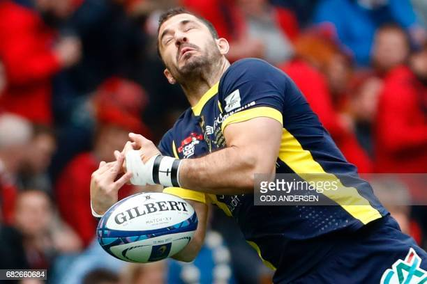 Clermont's South African full-back Scott Spedding fails to catch the ball during the rugby union European Champions Cup Final match between Saracens...