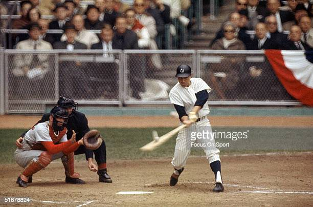 Clete Boyer of the New York Yankees swings during the1964 world series against the St Louis Cardinals at Yankee Stadium in Bronx New York