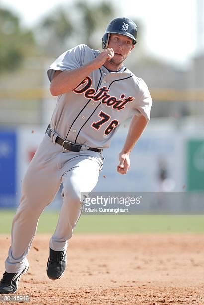 Clete Thomas of the Detroit Tigers runs during the spring training game against the Toronto Blue Jays at Knology Park in Dunedin Florida on February...