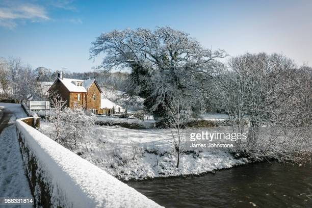 cleuchhead lodge during winter in dumfries and galloway, scotland. - galloway scotland stock pictures, royalty-free photos & images