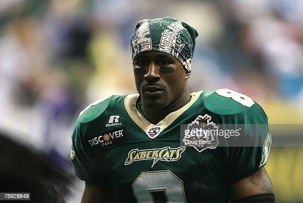 Clevan Thomas of the San Jose SaberCats looks on against the Columbus Destroyers during ArenaBowl XXI at New Orleans Arena on July 29 2007 in New...
