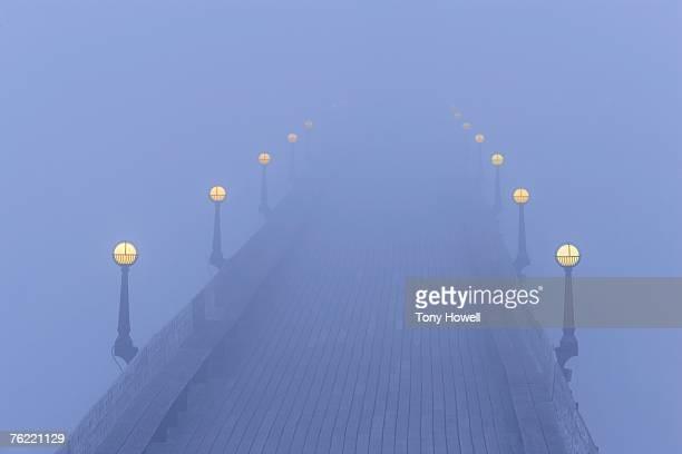 Clevedon Pier, Dusk, Fog, Somerset, England