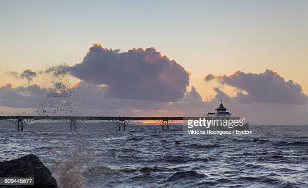 clevedon pier over sea against sky - clevedon pier stock pictures, royalty-free photos & images