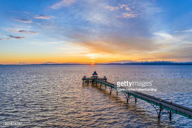 clevedon victorian pier at sunset, clevedon, somerset, england, united kingdom, europe - gavin hellier stock pictures, royalty-free photos & images