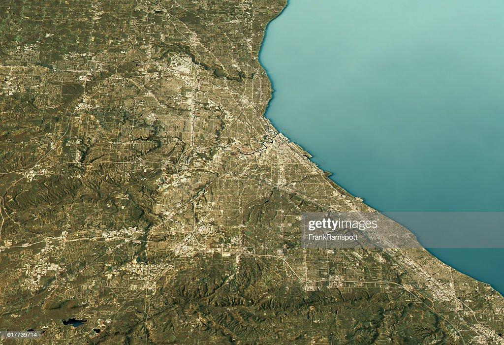Cleveland 3D Landscape View East-West Natural Color : Stock-Foto