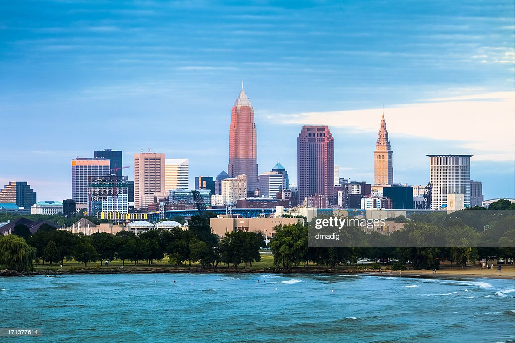 Cleveland and the Lake Erie Shore at Sunset : Stock Photo