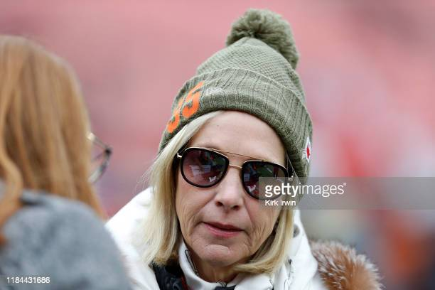Cleveland Browns coowner Dee Haslam wears a hat in support of Myles Garrett of the Cleveland Browns while standing on the field prior to the start of...