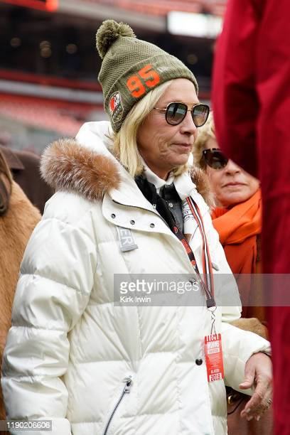 Cleveland Browns coowner Dee Haslam wears a hat in support of Myles Garrett prior to the start of the game against the Miami Dolphins at FirstEnergy...