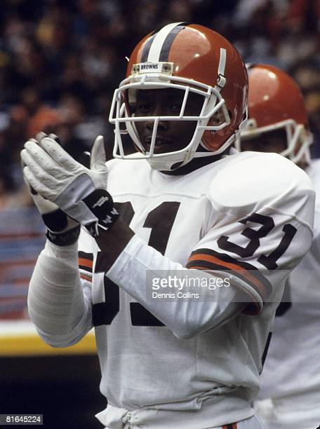 Cleveland Browns cornerback Frank Minnifield during player introductions before the Browns 2420 victory over the New England Patriots on October 6...