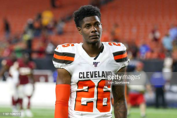 Cleveland Browns cornerback Greedy Williams leaves the field following the National Football League preseason game between the Washington Redskins...