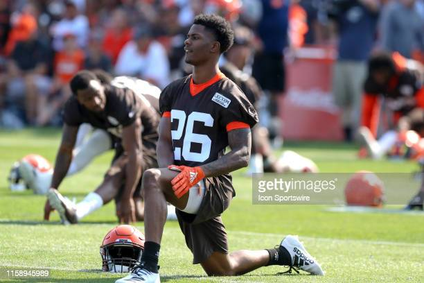 Cleveland Browns cornerback Greedy Williams participates in drills during the Cleveland Browns Training Camp on July 25 at the at the Cleveland...
