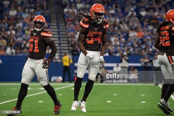 Cleveland Browns cornerback Robert Jackson celebrates a defensive stop during the week 2 NFL preseason game between the Cleveland Browns and the...