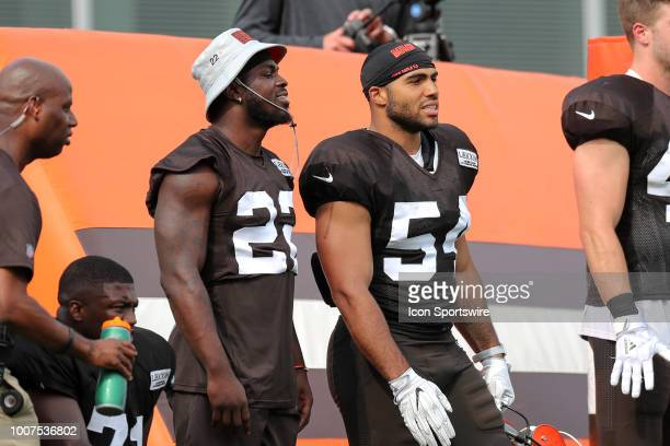 Cleveland Browns defensive back Jabrill Peppers and Cleveland Browns linebacker Mychal Kendricks during drills at the Cleveland Browns Training Camp...