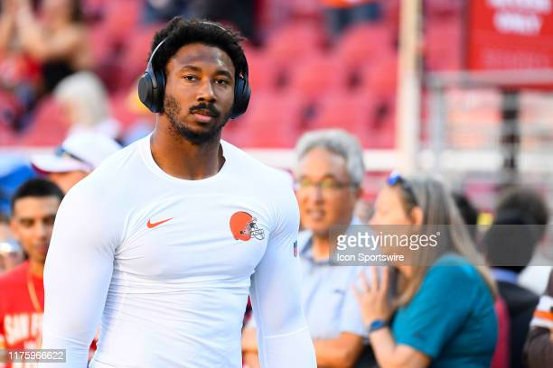 Cleveland Browns Defensive End Myles Garrett looks on before the National Football League game between the Cleveland Browns and the San Francisco...
