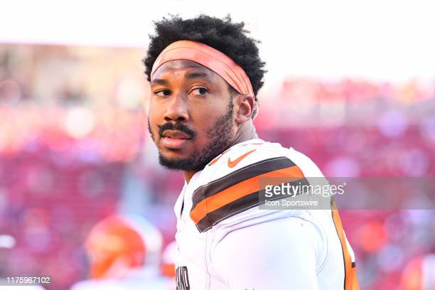 Cleveland Browns Defensive End Myles Garrett looks on during the National Football League game between the Cleveland Browns and the San Francisco...