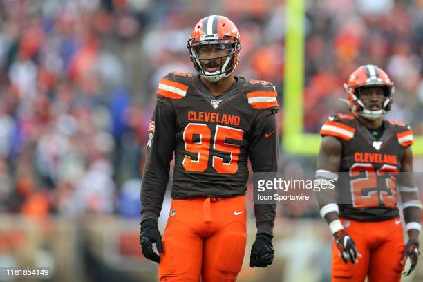 Cleveland Browns defensive end Myles Garrett on the field during the fourth quarter of the National Football League game between the Buffalo Bills...