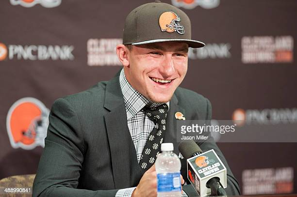 Cleveland Browns draft pick Johnny Manziel is answers questions during a press conference at the Browns training facility on May 9 2014 in Cleveland...