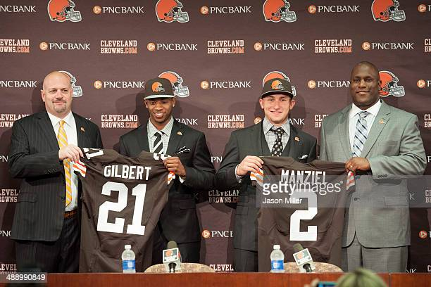Cleveland Browns draft picks Justin Gilbert and Johnny Manziel are introduced by general manager Ray Farmer and head coach Mike Pettine during a...