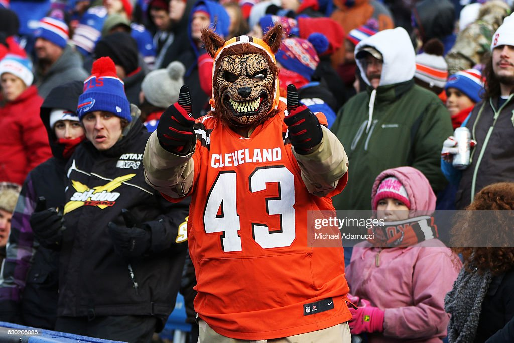 A Cleveland Browns fan cheers during the first half against the Buffalo Bills at New Era Field on December 18, 2016 in Orchard Park, New York.