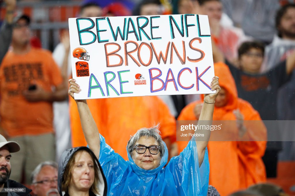 A Cleveland Browns fan is seen during a preseason game against the Buffalo Bills at FirstEnergy Stadium on August 17, 2018 in Cleveland, Ohio.