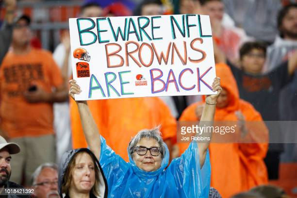 Cleveland Browns fan is seen during a preseason game against the Buffalo Bills at FirstEnergy Stadium on August 17 2018 in Cleveland Ohio