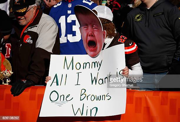 Cleveland Browns fan looks on during the second quarter against the New York Giants at FirstEnergy Stadium on November 27 2016 in Cleveland Ohio