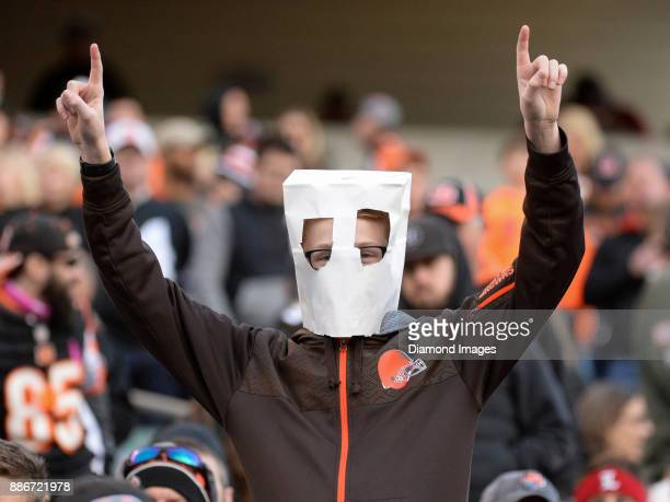 Cleveland Browns fan poses for a picture in the fourth quarter of a game on November 26 2017 against the Cincinnati Bengals at Paul Brown Stadium in...