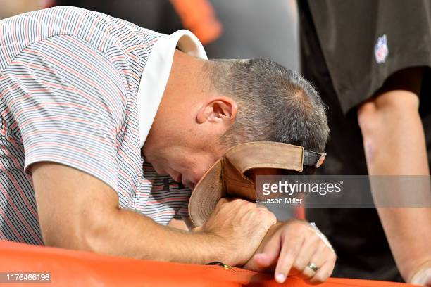 Cleveland Browns fan reacts during the fourth quarter against the Los Angeles Rams at FirstEnergy Stadium on September 22 2019 in Cleveland Ohio The...