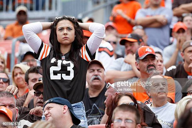 Cleveland Browns fan reacts in the fourth quarter of the game against the Baltimore Ravens at FirstEnergy Stadium on September 18 2016 in Cleveland...