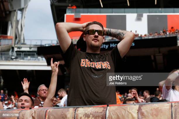 Cleveland Browns fan reacts to a missed field goals in the first half at FirstEnergy Stadium on October 8 2017 in Cleveland Ohio