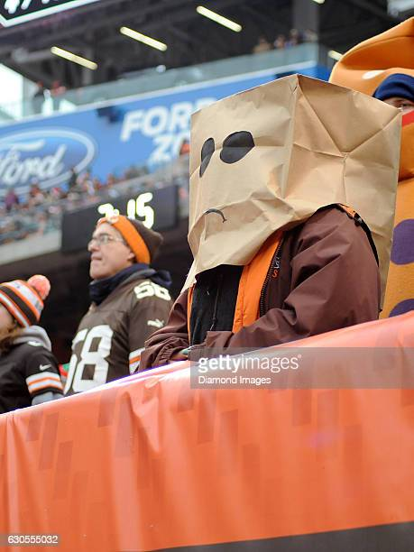 Cleveland Browns fan watches the action while wearing a bag over their head during a game against the San Diego Chargers on December 24 2016 at...