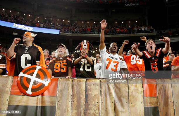 Cleveland Browns fans celebrate after a 2117 win over the New York Jets at FirstEnergy Stadium on September 20 2018 in Cleveland Ohio