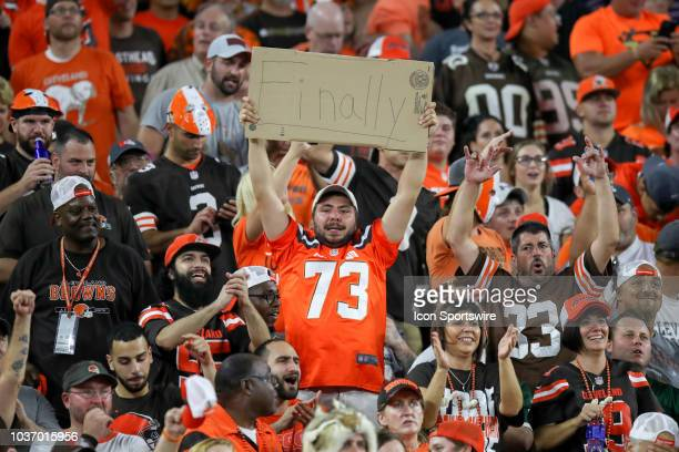 Cleveland Browns fans celebrate as the seconds tick off the clock during the fourth quarter of the National Football League game between the New York...