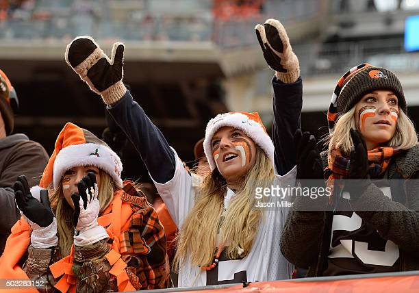 Cleveland Browns fans cheer during the second quarter against the Pittsburgh Steelers at FirstEnergy Stadium on January 3 2016 in Cleveland Ohio
