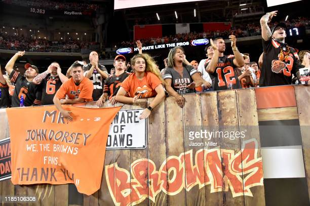 Cleveland Browns fans cheer for their team from the Dog Pound during the second half against the Los Angeles Rams at FirstEnergy Stadium on September...