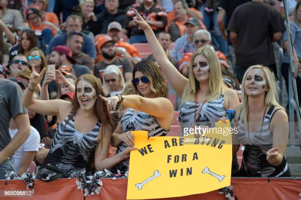 Cleveland Browns fans in the game against the Tennessee Titans are seen during the in the second quarter at FirstEnergy Stadium on October 22 2017 in...