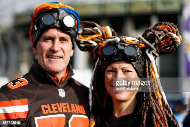 Cleveland Browns fans pose before kick off during the NFL International Series match between Minnesota Vikings and Cleveland Browns at Twickenham...