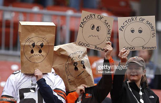 Cleveland Browns fans react after their 1312 loss to the St Louis Rams at Cleveland Browns Stadium on November 13 2011 in Cleveland Ohio