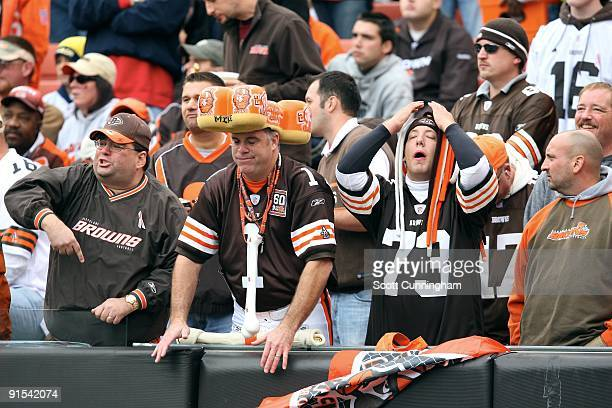 Cleveland Browns fans react in disgust to a penalty call during the game against the Cincinnati Bengals at Cleveland Browns Stadium on October 4 2009...
