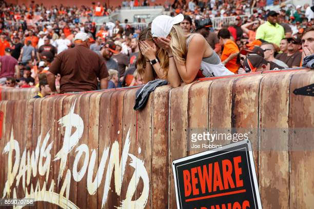 Cleveland Browns fans react to a missed field goal in the second quarter at FirstEnergy Stadium on October 8 2017 in Cleveland Ohio