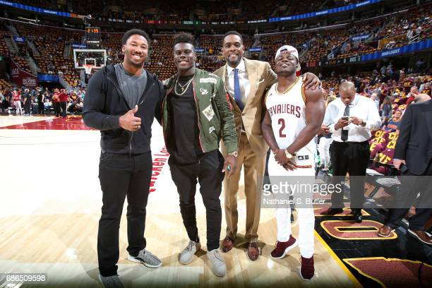 Cleveland Browns first round draft picks Jabrill Peppers David Njoku Myles Garrett pose for a picture with TNT analyst Chris Webber at the game...