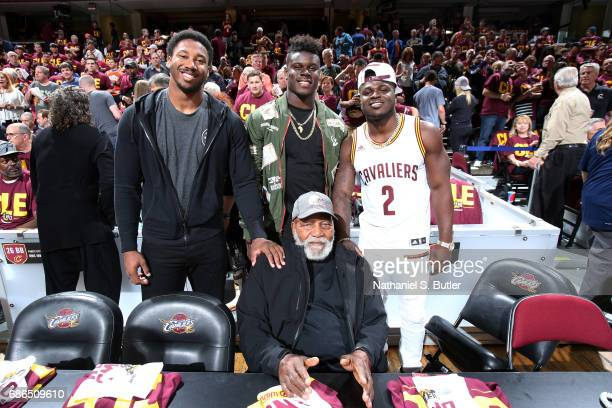 Cleveland Browns first round draft picks Jabrill Peppers David Njoku Myles Garrett pose for a picture with NFL Hall of Famer Jim Brown at the game...
