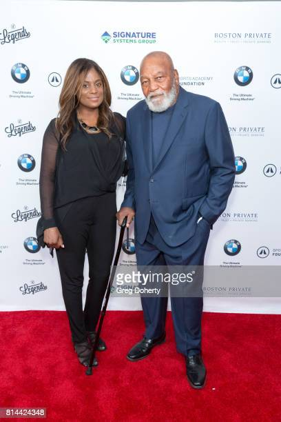 Cleveland Browns Full Back NFL Champion and Actor Jim Brown and Wife Monique attends the Sports Academy Foundation 50 For 50 at Manhattan Country...