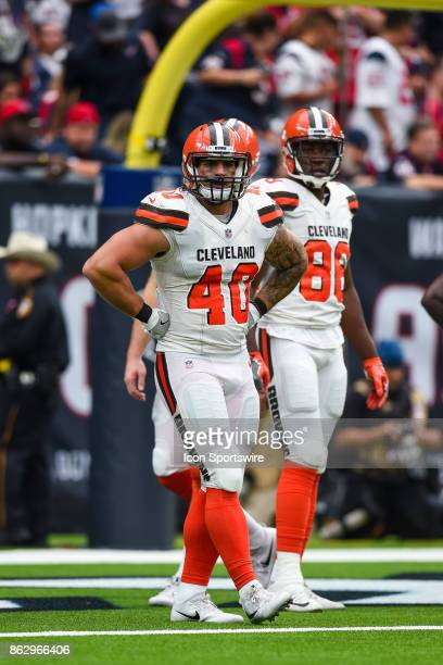 Cleveland Browns fullback Danny Vitale looks to the sideline during the football game between the Cleveland Browns and the Houston Texans on October...
