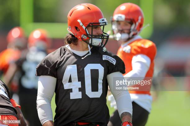 Cleveland Browns fullback Danny Vitale participates in drills during the Cleveland Browns OTA at the Cleveland Browns Training Facility in Berea,...