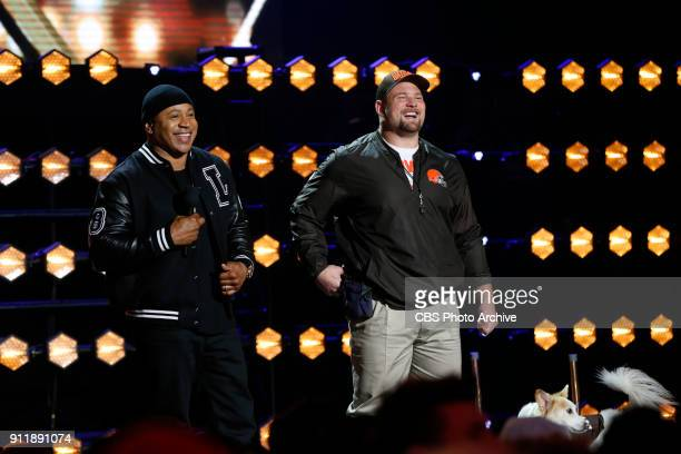 Cleveland Browns guard Kevin Zeitler and his dog Amber are introduced by LL Cool J before competing to be crowned the MVP MOST VALUABLE PERFORMER...